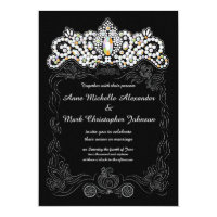 Princess Diamond Tiara Wedding Invitation 5 x 7