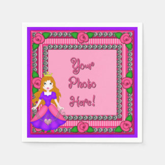 Princess Diamonds FR01-Pink-BL-PAPER NAPKINS