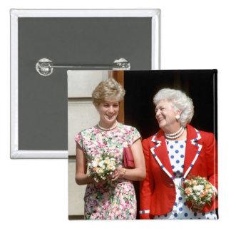 Princess Diana-Barbara Bush 2 Inch Square Button