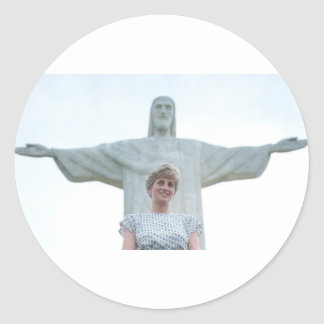 Princess Diana Brazil Round Stickers
