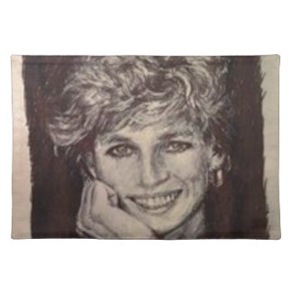 PRINCESS DIANA INK PEN PORTRAIT PLACEMAT