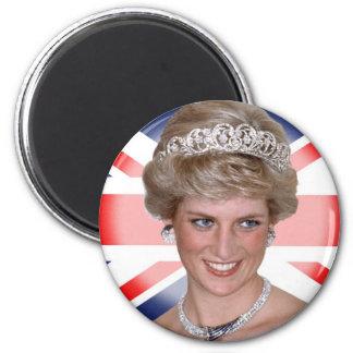 Princess Diana Union Jack 2 Inch Round Magnet