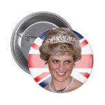 Princess Diana Union Jack Pinback Buttons