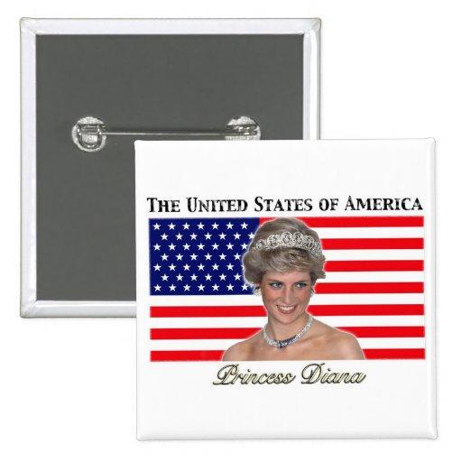 Princess Diana USA Flag Buttons
