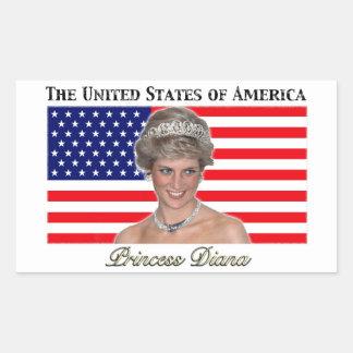 Princess Diana USA Flag Rectangular Sticker