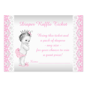 Princess Diaper Raffle Ticket Large Business Cards (Pack Of 100)