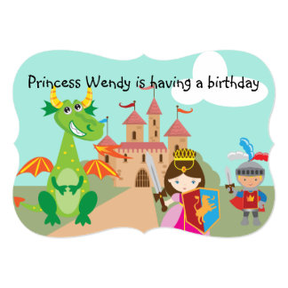 Princess Dragon and Knight Birthday Invite