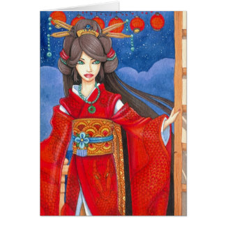 Princess Dragon Greeting Card Modern Red Art Print