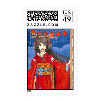 Princess Dragon Red Geisha Postage Stamp