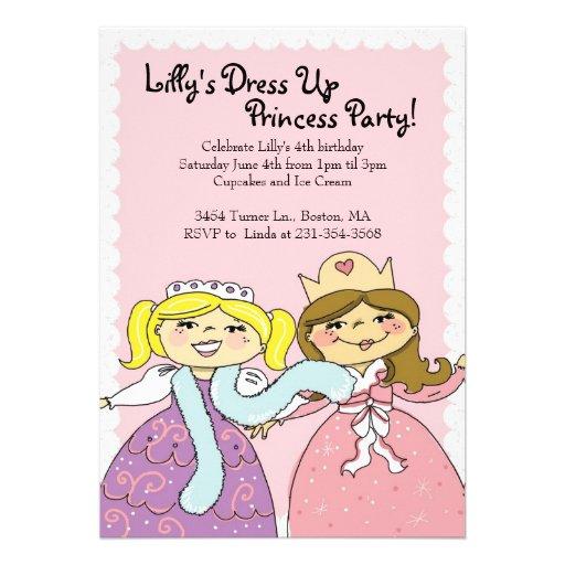 "Princess, Dress Up Themed Birthday Party Invites 5"" X 7"