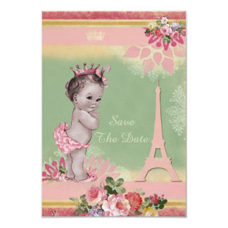 Princess Eiffel Tower Baby Shower Save The Date Card