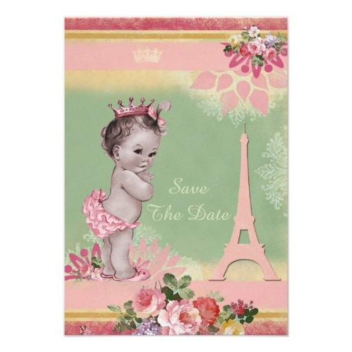 Princess Eiffel Tower Baby Shower Save The Date Custom Invites
