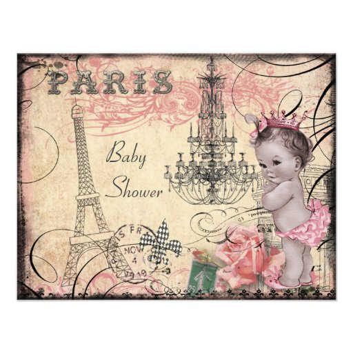 Princess Eiffel Tower & Chandelier Baby Shower Announcements
