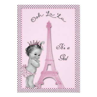 Princess Eiffel Tower Polka Dots Baby Shower 5x7 Paper Invitation Card