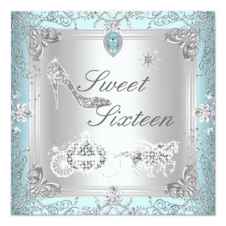 Princess Elegant Diamond Teal Sweet 16 Sixteen Card