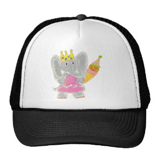 Princess Elephant Birthday Ice Cream Mesh Hats
