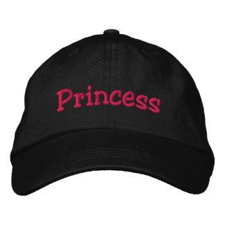 Princess Embroidered Baseball Cap Black & Hot Pink