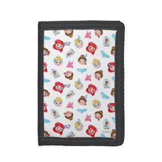 Princess Emoji Pattern Tri-fold Wallet