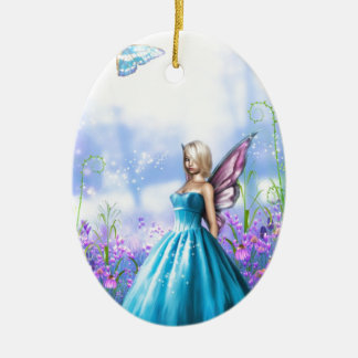 Princess Fae in Blue Ceramic Ornament