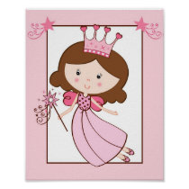 Princess Fairy Brunette Nursery Wall Art Print