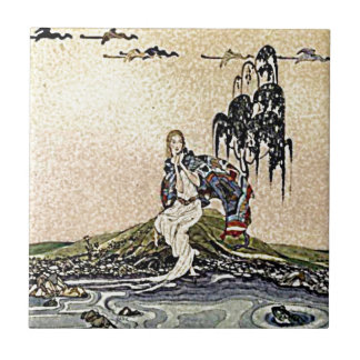 Princess Fairy by the River Illustration Small Square Tile