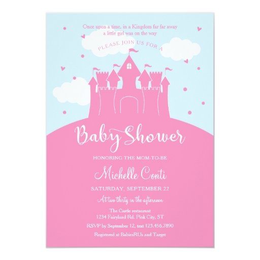 Princess Fairy Tale Castle Baby Shower Invitation