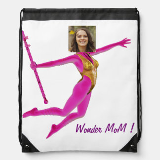 Princess Fairy Wand, Pink Fushia - with YOUR Pho Drawstring Backpack