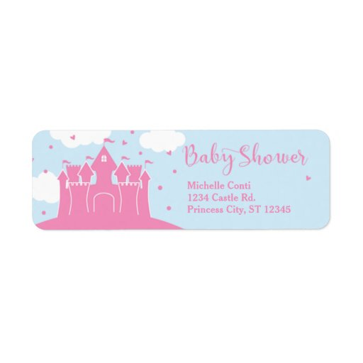 Princess Fairytale Castle Baby Shower Label