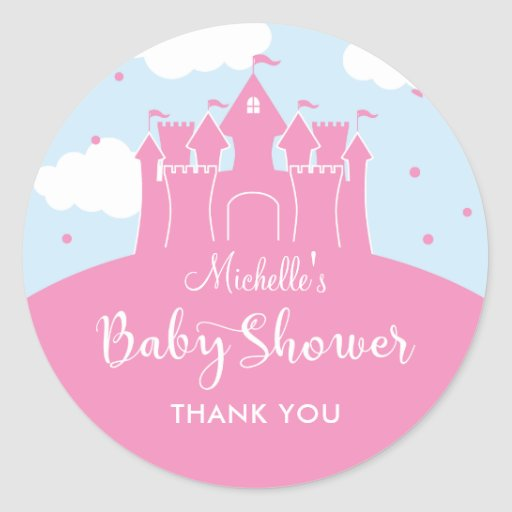 Princess Fairytale Castle Baby Shower Sticker
