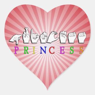 PRINCESS  FINGERSPELLED ASL NAME HEART STICKER