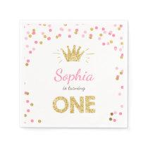 Princess First birthday Paper Napkin Gold Pink