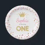 "Princess First birthday Paper Plates Pink Gold<br><div class=""desc"">♥ A perfect addition to your little one&#39;s birthday party! Princess birthday theme with a gold crown and confetti in pink and gold.</div>"