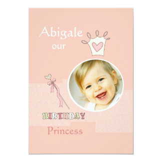 Princess First Birthday - Photo Birthday Party  In 5x7 Paper Invitation Card
