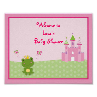 Princess Frog Baby Shower Welcome Sign Poster