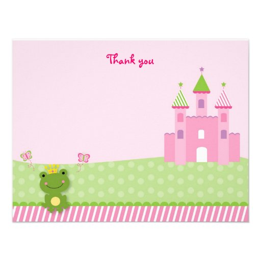Princess Frog Castle Flat Thank You Note Cards