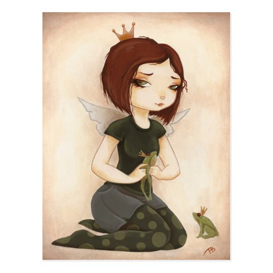PRINCESS FROG fairy tale kiss Postcard