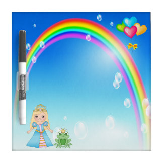 Princess, Frog, Rainbow & Balloons Dry Erase Board