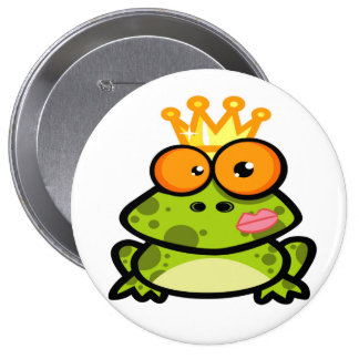 Princess Frog with Golden Crown Pinback Button