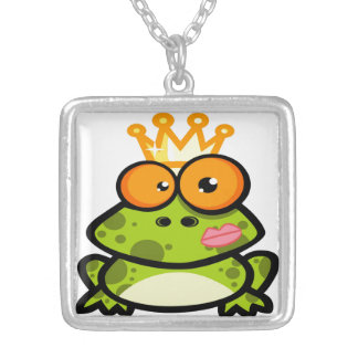 Princess Frog with Golden Crown Silver Plated Necklace