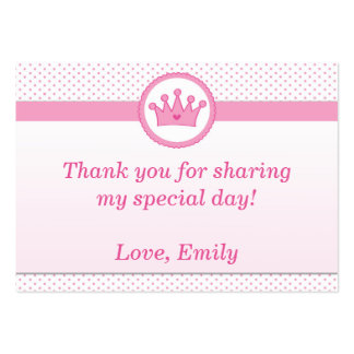 Princess Gift Favor Label Thank You Tag Pink Large Business Card