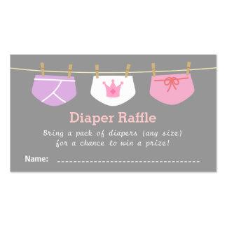 Princess Girl Baby Shower, Diaper Raffle Tickets Business Card Templates
