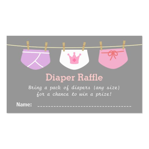Princess Girl Baby Shower, Diaper Raffle Tickets Double-Sided Standard ...