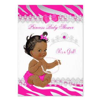 Princess Girl Baby Shower Hot Pink Zebra Ethnic Card