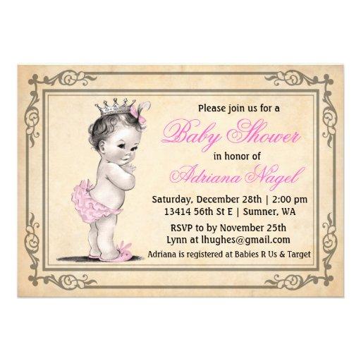 Princess Girl Baby Shower Invitations Vintage
