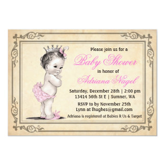 Princess Girl Baby Shower Invitations Vintage