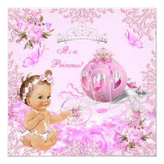 Princess Girl Baby Shower Pink Carriage Card