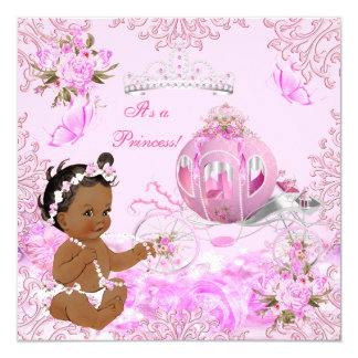 Princess Girl Baby Shower Pink Carriage Ethnic Card