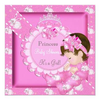 Princess Girl Baby Shower Pink Cute Bunnies Custom Invite