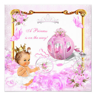 Princess Girl Baby Shower Pink Gold Carriage Tiara Card
