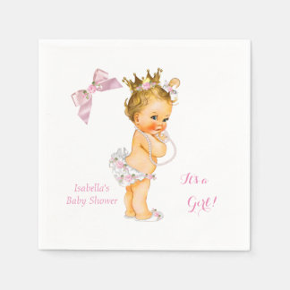 Princess Girl Baby Shower Pink Gold Crown Blonde Paper Napkin